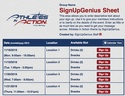 Athletes in Action sign up sheet