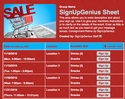 Consignment sign up sheet