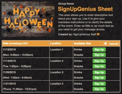 halloween candy trick treat spiders webs sign up form