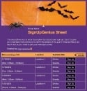 Spiders and Bats sign up sheet