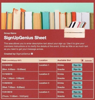 books library red reading sign up form
