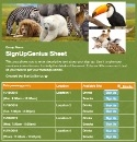 Zoo Animals sign up sheet