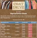 Coat Donation Drive sign up sheet