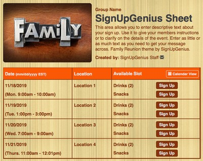 Family families portraits reunions  sign up form