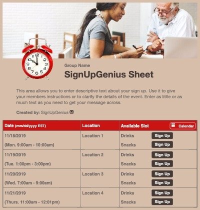 colleges clock conferences hours tutoring office scheduling sign up form