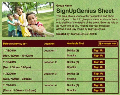 fields days kids schools parks playgrounds  sign up form