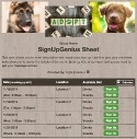 Dogs & Puppies sign up sheet