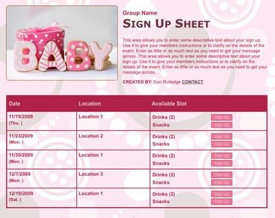baby babies showers girls pink party newborns infants cookies sign up form