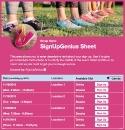 Cross Country Girls sign up sheet