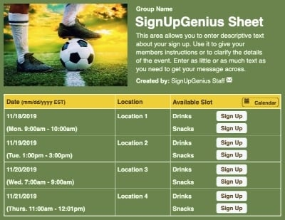 soccer sports ball players sports shoes cleats games practices sign up form