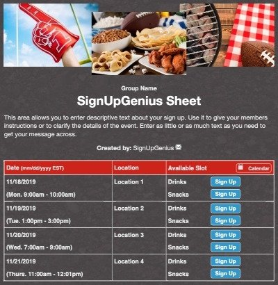 football tailgating tailgate party superbowl super bowl grilling food sign up form