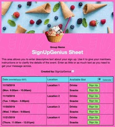 ice cream cone sundae summer food treats sign up form
