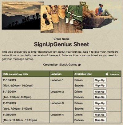hike hiking climbing backpacking camping scouts mountains sign up form