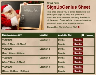 Christmas Holidays Santa wish gift exchange sign up form