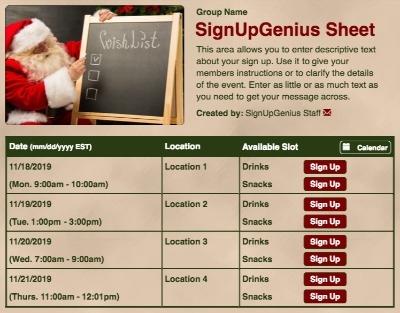 Christmas Holidays Santa wish gift exchange sign up form