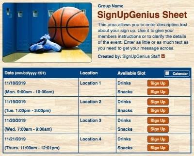 basketball hoops lockerroom sign up form