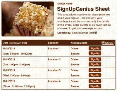 concessions fundraising popcorn movie sign up form