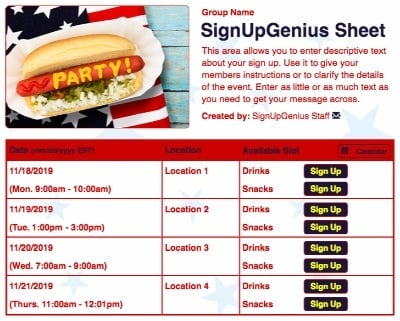 july 4th fourth independence picnic patriotic stars party parties celebrations hotdogs cookout sign up form