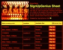 Carnival Game sign up sheet