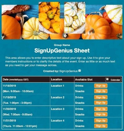 fall pumpkins harvest festival gourds autumn sign up form