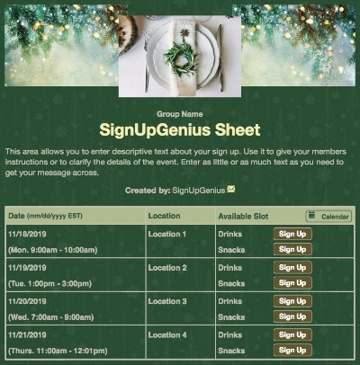 christmas holiday dinners party parties potlucks meal green sign up form