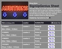 Auditions sign up sheet