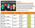 Back to School 6 sign up sheet