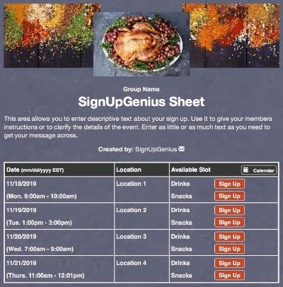 thanksgiving holidays meal dinner turkey sign up form