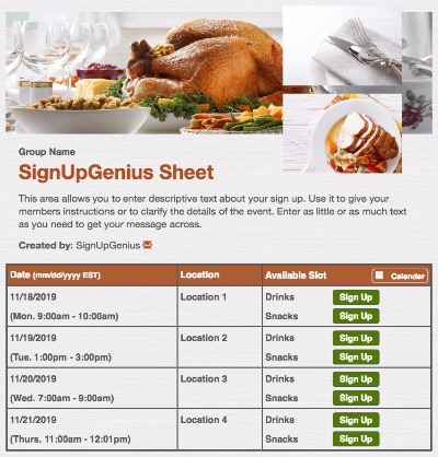thanksgiving christmas holidays meal dinner turkey sign up form