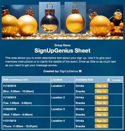christmas ornaments decorations decorating blue sign up form