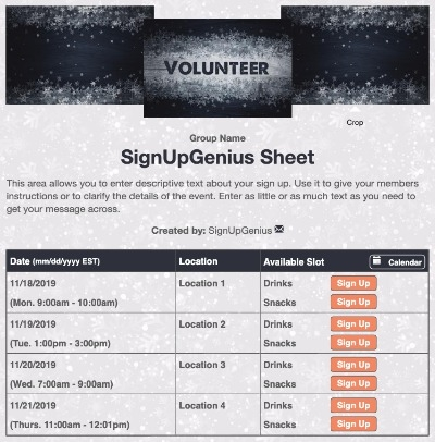 christmas winter holiday volunteering volunteers community service sign up form