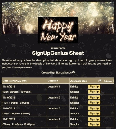 happy new year sign up sheet