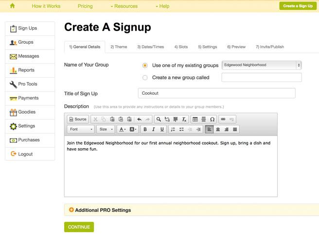 make a signup sheet