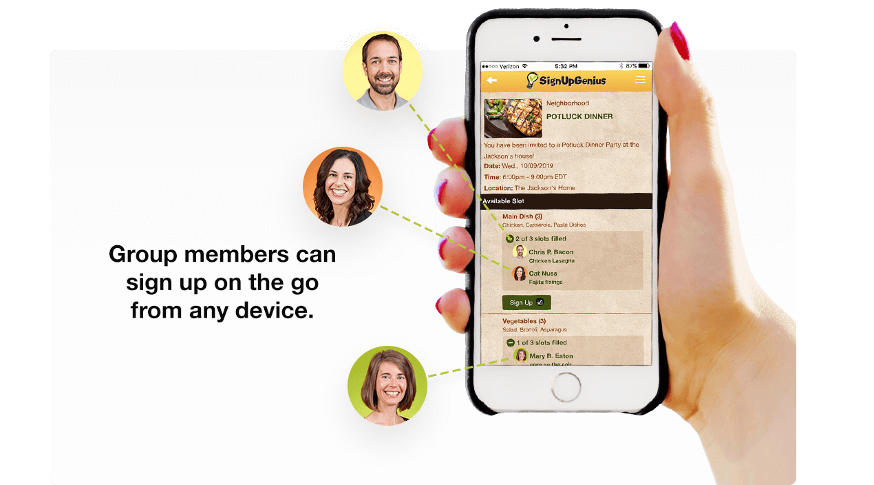 Group members can sign up on the go from any device.